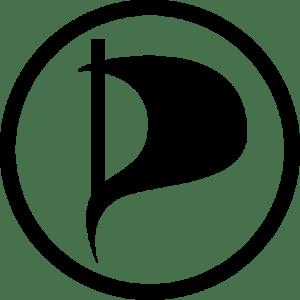 O símbolo do Partido Pirata, que já espalha por todo o mundo